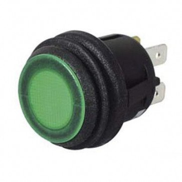 Durite - Switch Push on/Push off Green LED 12/24 volt Cd1 - 0-690-54