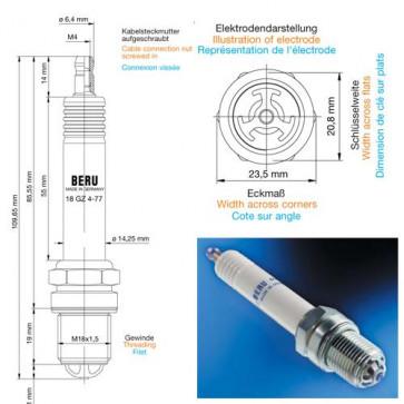 Beru Industrial Spark Plugs 18 GZ 4-77 - 18GZ4-77 (0004800912) Z179