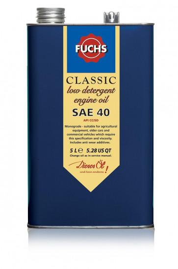 Fuchs Classic Low detergent Engine Oil Lubricant SAE 40 5 Litre Vintage Tin