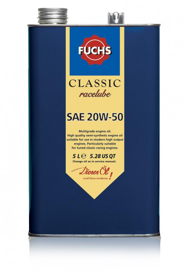 Fuchs Classic Racelube Engine Oil Lubricant SAE 20W-50 5 Litre Vintage Tin