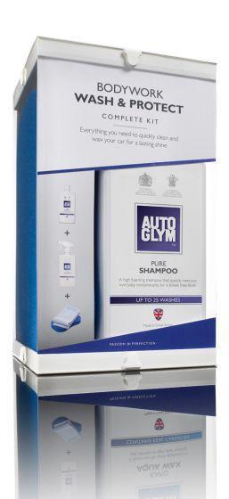 Autoglym Bodywork Wash & Protect Complete Kit Pure Shampoo Rapid Aqua Wax Cloths