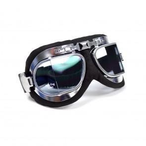 GS46010 - EMGO Goggles - Leather/Chrome Frame Stadium Style.