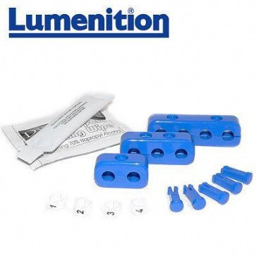 EZK41B - Lumenition Blue - 4 Lead Set Markers & Clamps - Ignition Lead Numbe