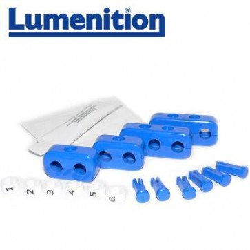 EZK61B - Lumenition Blue - 6 Lead Set Markers & Clamps - Ignition Lead Numbe
