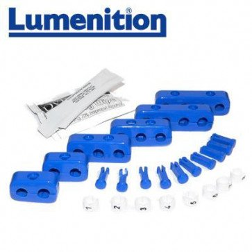 EZK81B - Lumenition Blue - 8 Lead Set Markers & Clamps - Ignition Lead Numbe