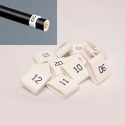 7mm Cable Plug Lead Numbers - Markers 1 to 12 - White