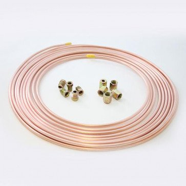25ft Brake Copper Pipe Tube 3/16 OD x 0.131 ID + 5 short male + 5 female nuts