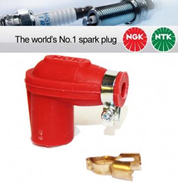 1x NGK None Resistor Spark Plug Cap LBER-R Red 14mm Nut Terminal 8307