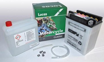 Lucas 12V Classic Motorcycle Battery with Acid Pack. LYB14LA2