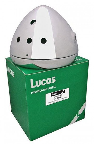 "Lucas 7"" Motorcycle Headlamp Headlight shell and Rim Chrome 54526651T, 99-7039"