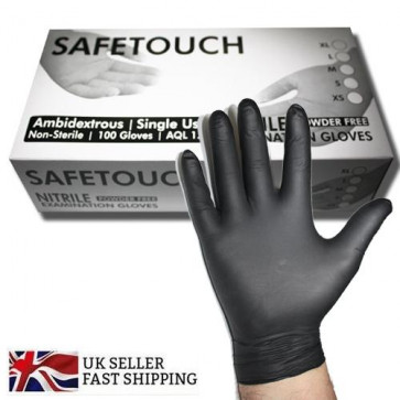 Black Disposable 100 Pack Non Sterile Nitrile Powder Free Gloves Tattoo AQL 1.5