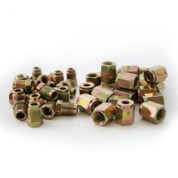 25 x Steel Short Male Brake Pipe Tube Tubing Nut 25 x Female Pipe Nut 10mm x 1mm
