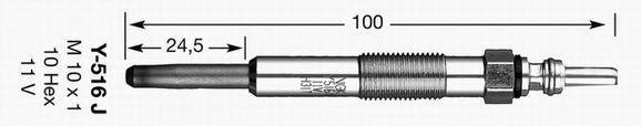 1436 Sheathed Glow Plug Pack of 2 NGK Y-516J Y516J