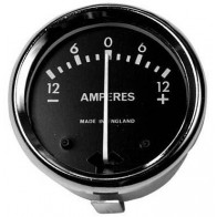 "GS19019 - AMMETER 1 3/4"" Dia, Black dial with Chrome bezel,Reading 12-0-12. 12am"