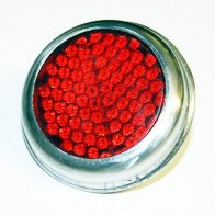 """Red Reflector Pattern Lucas Red with chrome bezel Universal 2"""""""