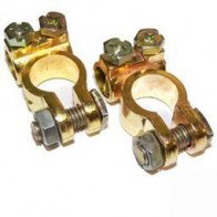 Car Battery Terminals Clamps Pair Screw Connection Positive & Negative Brass Coa