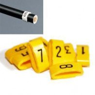 1 Pack -  7mm Cable Plug Lead Numbers - Markers 1 to 8 - Yellow