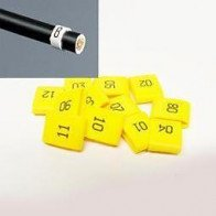 7mm Cable Plug Lead Numbers - Markers 1 to 12 - Yellow