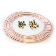 "25ft Cupro Copper Nickel Brake Tube Pipe 3/16"" 10 x Male & Female Nut 10mm x 1mm"
