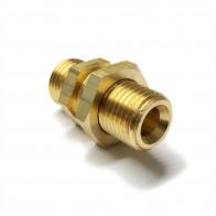 "Brass Equal Bulkhead Coupling 1/4"" O/D - 1/4"" BSP - Petrol Fuel Pipe"