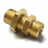 "Brass Equal Bulkhead Coupling  5/16"" O/D - 1/4"" BSP - Petrol Fuel Pipe"