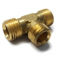"Brass Equal Tee 5/16""  O/D - Petrol Fuel Pipe - 1/4"" BSP"