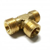 "Brass Equal Tee 1/4"" O/D - Petrol Fuel Pipe - 1/4"" BSP"